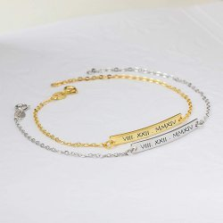 roman numeral  bar bracelet in 18k gold plating